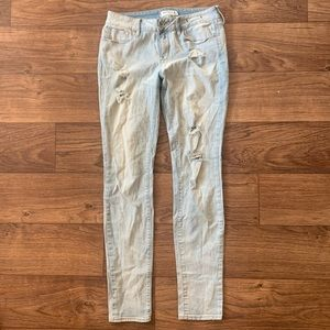 Light Wash Distressed Stretchy Jeans